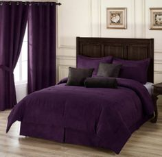 """Chezmoi Collection 7 Pieces Solid Lavender Purple Micro Suede Comforter 90""""x92"""" bed-in-a-bag Set Queen Size Bed Chezmoi Collection,http://www.amazon.com/dp/B001KQ7W1I/ref=cm_sw_r_pi_dp_cC5rtb1G4YHHH00D"""