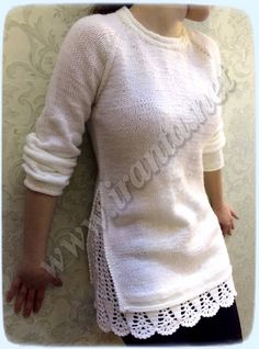 Crochet Patterns Sweter Cardigan with imitation of two-layer clothing with … Crochet Blouse, Knit Dress, Knitting Designs, Crochet Designs, Crochet Clothes, Diy Clothes, Pullover Upcycling, Mirror Work Blouse, Sewing Blouses