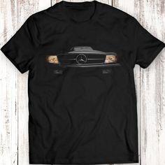 T-Shirt: Mercedes Benz SL r107 500 Headlights Glow T-Shirt Women Men Gift Idea Present Awsome Car Lights On Black T Shirt Garment Apparel Brand: Fruit of