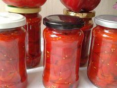 Gogosari in sos de rosii Salsa, Mason Jars, Cooking Recipes, Baking, Drinks, Food, Canning, Drinking, Beverages
