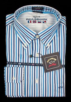 Sharp & nautical, in this Paul & Shark Yachting Italy stripe blue white cotton dress shirt!     Find yours! http://www.frieschskys.com/all-shirts/dress-shirts     #frieschskys #mensfashion #fashion #mensstyle #style #moda #menswear #dapper #stylish #MadeInItaly #Italy #couture #highfashion #designer #shopping