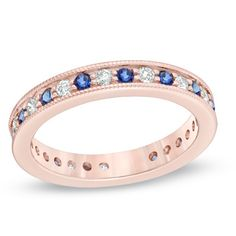 Blue Sapphire and 3/8 CT. T.W. Diamond Eternity Ring in 14K Rose Gold