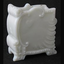 """Victorian milk glass playing card holder Here you go, Kathy. Maybe, this would have kept your aunt from cautioning you about showing your cards. """"Breast."""""""