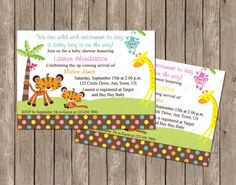 Love making cards with artimpressions stamps papercrafts jungle baby showers shower invitation fisher price 10 off sale fisher price girl or boy jungle by periwinklepapery 750 filmwisefo