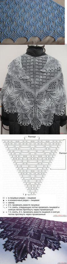 Вязание спицами красивой шали для женщин. Подробная схема с фото и описанием для начинающих // Светлана Видина