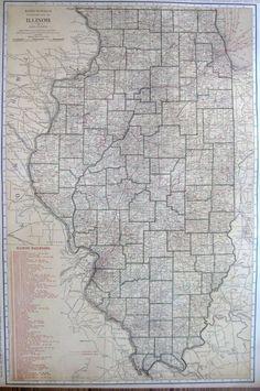 1921 RARE ILLINOIS Map with RAILROADS  Beautiful Rare Size Map of Illinois