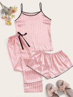 To find out about the Satin Striped Cami PJ Set With Pants at SHEIN, part of our latest Night Sets ready to shop online today! Cute Pajama Sets, Cute Pjs, Cute Pajamas, Pj Sets, Cute Sleepwear, Sleepwear Women, Pyjama 3 Pieces, Ropa Interior Babydoll, Pajama Outfits