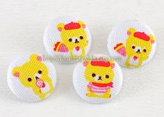 Fabric Covered Buttons (M) - Cute Rilakkuma, Sweet Candy (4Pcs, 0.75 Inch). $4.50, via Etsy.