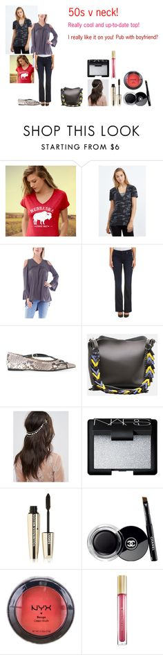 """For Emma (cousin) - Emma's ideal wardrobe by me: 50s v neck!"" by sarah-m-smith ❤ liked on Polyvore featuring Monrow, Ami Sanzuri, 7 For All Mankind, MICHAEL Michael Kors, ASOS, NARS Cosmetics, L'Oréal Paris, Chanel, NYX and Max Factor"