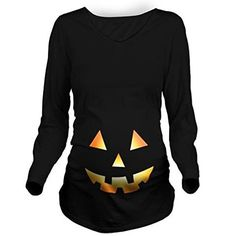 This Jack O Lantern long sleeved tee is the perfect Halloween t-shirt for pregnant women. It's not only cute but also looks warm and cozy and perfect for Halloween night.