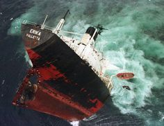 The tanker, MV Erika, sank off the coast of France in 1999 causing a major environmental disaster. She was on passage from Dunkerque to Livorno with tons of fuel as cargo. Abandoned Ships, Abandoned Places, Wyoming, Merchant Marine, Ghost Ship, Shipwreck, Water Crafts, Titanic, Sailing Ships