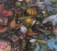 """Owen Gray, Zebra in Paradise (2010), Oil on paper, 30"""" x 28"""""""