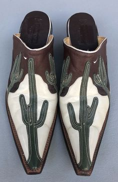Sonora Double H Leather Mules w/Beautiful Hand Tooled Desert Cactus Design Sz 7B #Sonora #MULES #Casual