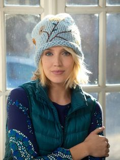 Knitted and embellished slouch hat