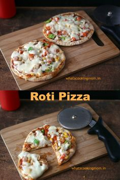 Roti Pizza -Pizza made with roti/ chapati. Healthier option, vegetarian, kid friendly k. Vegetarian Pizza Recipe, Vegetarian Snacks, Healthy Snacks, Healthy Recipes, Yummy Recipes, Recipies, Amazing Recipes, Vegan Food, Healthy Eats