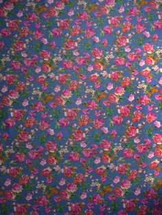 """CAE4612 Floral Challis Muted Blue, Pink, Apricot 55"""" Wide"""