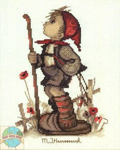"JCA / Hummel - Happy John cross stitch kit  -  DISCONTINUED ITEM - NO LONGER AVAILABLE.  Now known as ""The Little Hiker""  -  companion to ""Off To Town"""