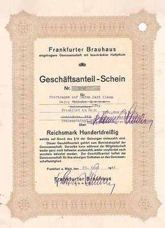 Frankfurter Brauhaus eGmbH Geschäftsanteil-Schein 130 RM 25.6.1941 (R 8).