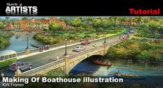 """The Boathouse illustration is a traditional/digital hybrid rendering for a development in Sihanoukville, Cambodia. The final rendering shows an entry bridge/main road into a proposed """"new-town"""" development in Sihanoukville. This project was completed in collaboration with Yong-Woo Lee at WRT Architects in Philadelphia."""