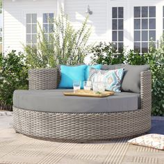 Sol 72 Outdoor™ Rockport 5 Piece Dining Set with Cushions & Reviews | Wayfair Wicker Dining Set, Patio Dining Chairs, Dining Arm Chair, Outdoor Dining, Outdoor Decor, Patio Daybed, Outdoor Daybed, 5 Piece Dining Set, Cozy Corner