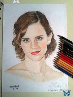 Emma Watson - Colour Pencils by FabianaAzevedo on DeviantArt Emma Watson - Colour Pencils by FabianaAzevedo<br> Hugging Couple Drawing, Couple Drawings, Amazing Drawings, Easy Drawings, Emma Watson Sketch, Pencil Drawings Of Nature, Color Pencil Sketch, Face Sketch, Drawing People