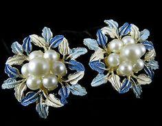 Lovely Vintage Silvertone Faux Pearl and Enamel Earrings Signed Hobe | eBay