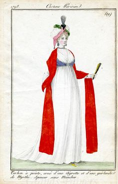 29 1798 Pointed Turban ornamented with Aigret feather and myrtle.  Sleeveless Spencer Jacket.  (no mention of the striking red shawl!)