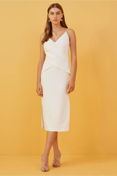 Finders Keepers Dreams Dress In Ivory Dress Outfits, Dress Up, Fashion Outfits, Women's Dresses, Sheath Wedding Gown, Wedding Dresses, Classic Cocktail Dress, Fitted Midi Dress, Dream Dress