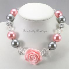 Pink and Silver Chunky Bubblegum Bead Necklace by SamdipityBowtique on Etsy, $21.95