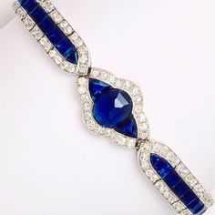 It's only Tuesday, but it's hard to be blue with  sapphires and diamonds on your wrist! ✨✨ Art Deco bracelet by Charles Holl, a designer for Cartier #ALVR #ArtDeco #Sapphire #Diamond #Bracelet #Jewelry