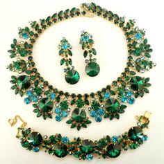 Juliana Green Rivoli Parure Necklace Bracelet Dangle Earrings D $1,200.00, via Etsy.