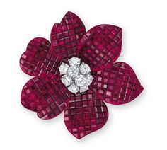 A 'MYSTERY SET' RUBY AND DIAMOND 'PAVOT' BROOCH, BY VAN CLEEF & ARPELS via Christie's