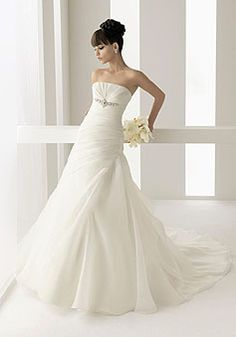 beaded chapel train long ruched wedding dress