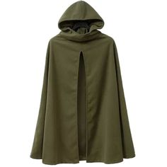 Kearia Womens Casual Hooded Split Front Poncho Cape Cloak Trench Coat... ($24) ❤ liked on Polyvore featuring outerwear, green trench coats, trench pea coat, hooded cloak, green hooded cloak and green hooded cape