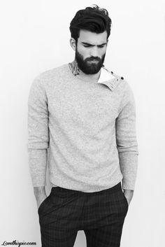 Beard in unbuttoned sweater