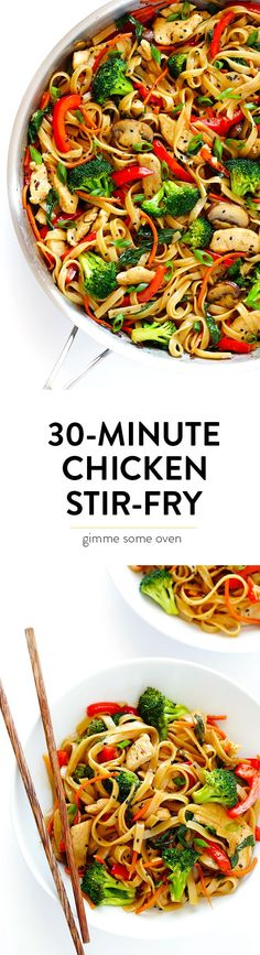 This 30-Minute Sesame Chicken Noodle Stir-Fry recipe is quick and easy to make, easy to customize with whatever fresh veggies or greens you have on hand, and it's tossed with the most delicious sesame-soy vinaigrette! | gimmesomeoven.com