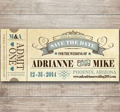 Vintage Fairytale Save the Date Ticket by CottontailPress on Etsy, $23.00