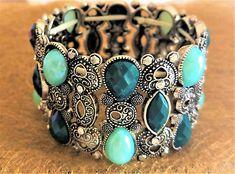 Bracelet-elastique-metal-argente-motifs-perles-strass-style-vintage-qualite-Neuf