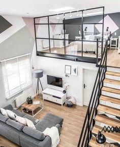 casas-minimalistas-elementos-de-metal-sofa-gris-paredes-en-diferentes-colores