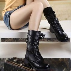 Cheap shoes winter boots, Buy Quality shoe polish directly from China shoe babies Suppliers: HOT SALE 2015 women Martin boots army combat boots revits motorcycle round-toe casual boots vintage boots shoes Ankle Shoes, Lace Up Ankle Boots, Mid Calf Boots, Shoe Boots, Women's Boots, Riding Boots, Cowboy Boots, Jupe Tulle Rose, Military Combat Boots