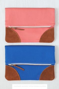{lbg studio}: leather accent fold over clutch | solids . . .