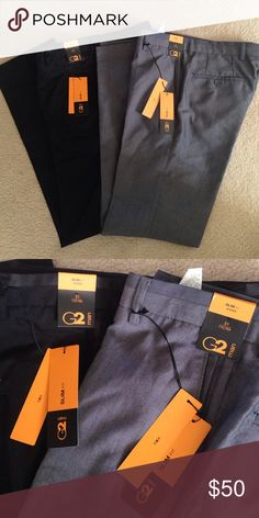 """NWT Men's G2 Slim Fit Dress Pants Slacks Bundle Brand new with jeans and! Waist size 31. Retail $65. Purchased overseas in Hong Kong. G2 Man is like Express here. One pair is Black and  the other is Gray. 33"""" inseam. G2 Man Pants Dress"""