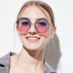 0bbf3746f8662 Hexagon Sunglasses Women Small Frame Polygon Sunglasses Men Blue Pink Clear  Lens Sun Glasses Female Review