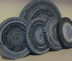 Blue Jean Hot Pad and Coaster Set Repurposed Denim Original Design Made To Order. $28.00, via Etsy.