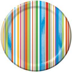 Flip Flop Stripes Dessert Plates, 7in (8 Pack)