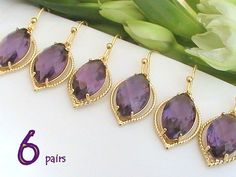 Set of 6 10% Off Bridal Party Jewelry, Amethyst Jewelry, Maid of Honor Gift, Purple Earrings, Wedding Favors, Dangle, Bridesmaid Gift Idea