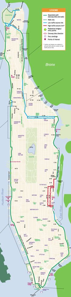 Manhattan Waterfront Greenway Map (includes Hudson River Greenway, East River Greenway and Harlem River Greenway