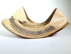 $200 BLOCH BALLET FLATS 40 Soft Embossed Tan Leather Scrunch Flat *PRIMO* SZ 10 #Bloch #BalletFlats