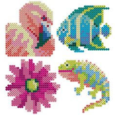 Create these detailed and colorful images of a flamingo, tropical fish, lizard, and blossom with the expanded color palette of Perler mini beads.