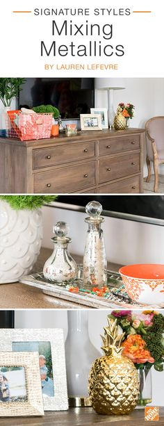 Fashion blogger Lauren Lefevre adds style to her master bedroom by mixing and matching metallic decor. Here, she  styles her antique  gray dresser by combining an antique silver  tray, elegant silver glass mini-bottles, and a statement-making  gold pineapple. Click to see more metallic decor on sale now  during The Home Event.